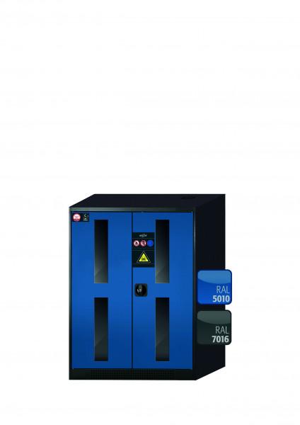 Chemikalienschrank CS-CLASSIC-G Modell CS.110.081.WDFW in enzianblau RAL 5010 mit 2x Tablarauszug AbZ (Stahlblech/Polypropylen)