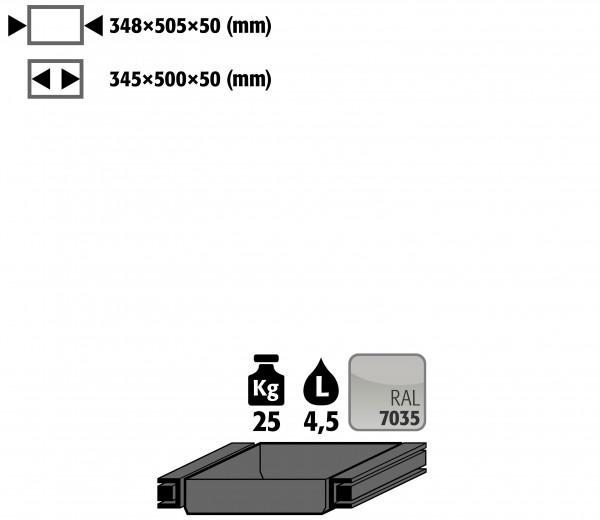 Auszugswanne Standard Türanschlag rechts (Volumen: 4,50 Liter) für Modell(e): Q90, S90 mit Breite 600 mm, Stahlblech pulverbeschichtet glatt