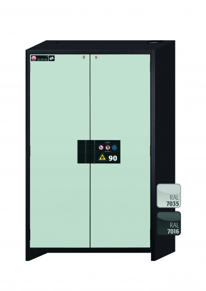 Typ 90 Sicherheitsschrank Q-CLASSIC-90 Modell Q90.195.120 in lichtgrau RAL 7035 mit 2x Auszugswanne Standard (Stahlblech)