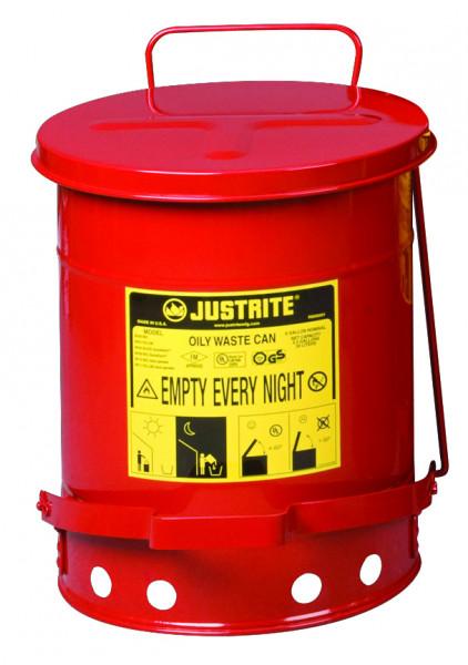 Entsorgungsbehälter, 20 L, rot, Fusspedal, Stahlblech verzinkt und lackiert