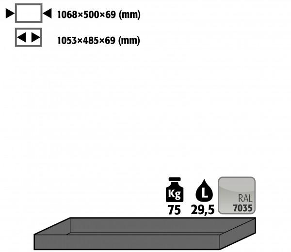 Wannenboden Standard (Volumen: 29,50 Liter) für Modell(e): S30 mit Breite 1200 mm, Stahlblech pulverbeschichtet glatt