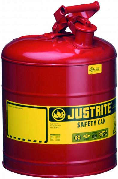 Sicherheitsbehälter Stahlblech pulverbeschichtet Rot, Inhalt: 19 Liter, Stahlblech pulverbeschichtet glatt