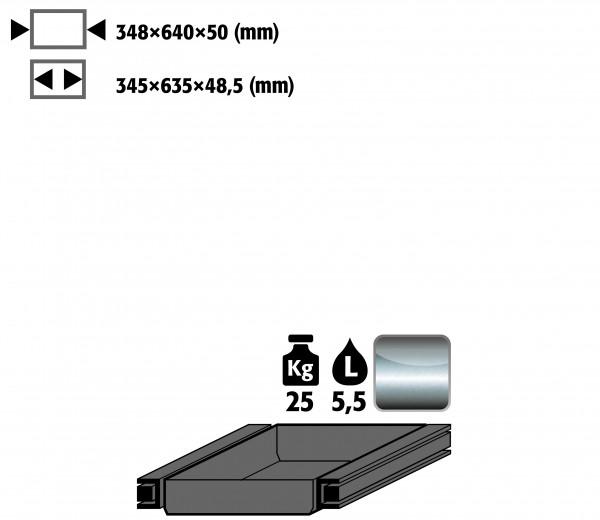 Auszugswanne Standard Türanschlag rechts (Volumen: 5,50 Liter) für Modell(e): S90 mit Breite 600 mm, Edelstahl 1.4301 roh