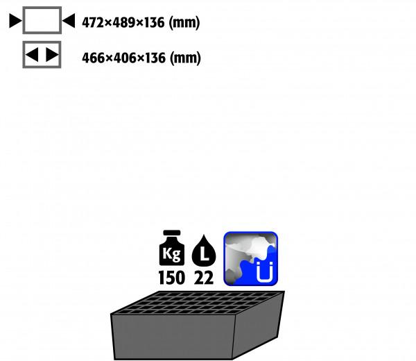 Bodenauffangwanne STAWA-R mit Gitterrost (Volumen: 22,00 Liter) für Modell(e): CS mit Breite 545 mm, Stahlblech verzinkt und lackiert