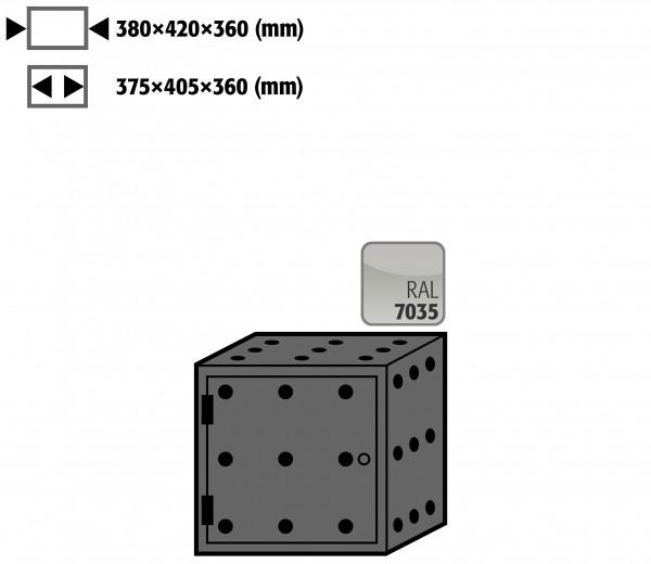 Lagerbox Türanschlag links für Modell(e): S90 mit Breite 600, 900 u.1200 mm, Stahlblech pulverbeschichtet glatt