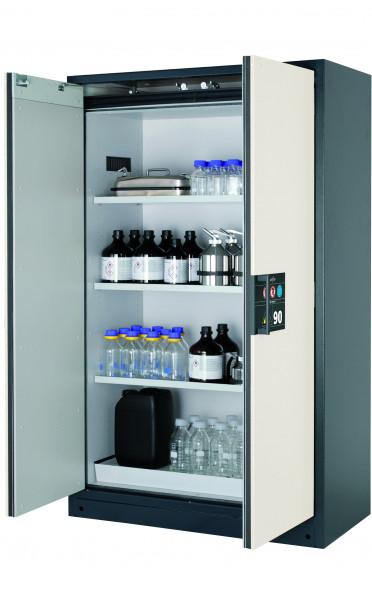 Typ 90 Sicherheitsschrank Q-CLASSIC-90 Modell Q90.195.120 in reinweiss RAL 9010 mit 3x Wannenboden Standard (Stahlblech)