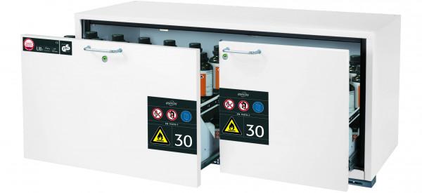 Typ 30 Sicherheitsunterbauschrank UB-S-30 Modell UB30.060.140.2S in laborweiss (ähnl. RAL 9016) mit 2x Schubladenwanne STAWA-R (Stahlblech)
