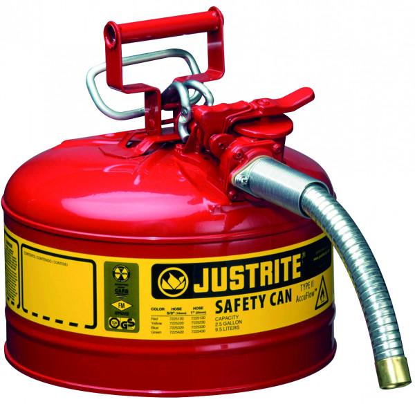 Sicherheitsbehälter Stahl pulverbeschichtet Rot, Inhalt: 9,5 Liter, Schlauch, Stahlblech pulverbeschichtet glatt