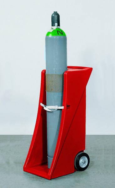 Gasflaschenwagen PE (rot) für 1 Gasflasche bis Ø 320 mm, Polyethylen