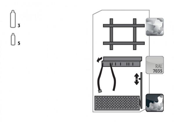 Komfortinneneinrichtung Druckgasflaschen für Modell(e): G90 mit Breite 900 mm, Stahlblech verzinkt und pulverbeschichtet