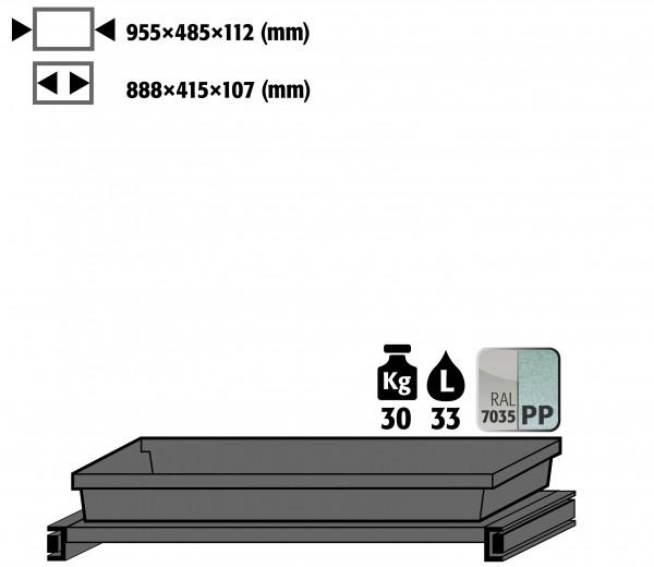 Tablarauszug AbZ mit PP-Wanne (Volumen: 33,00 Liter) für Modell(e): CS mit Breite 1055 mm, Stahlblech/Polypropylen pulverbeschichtet/roh