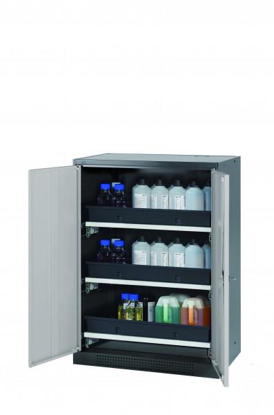 Chemikalienschrank CS-CLASSIC Modell CS.110.081 in lichtgrau RAL 7035 mit 3x Tablarauszug AbZ (Stahlblech/Polypropylen)