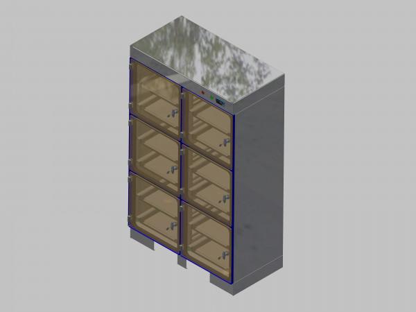 Trockenlagerschrank-ITN-1200-6 mit 2 Schubladen und Regelung der Schrankatmosphäre pro Schrank und Sockelausführung unterfahrbar mit Stellfüssen