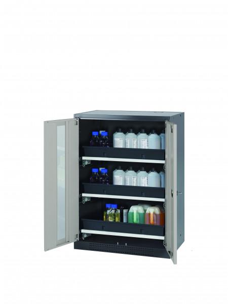 Chemikalienschrank CS-CLASSIC-G Modell CS.110.081.WDFW in lichtgrau RAL 7035 mit 3x Tablarauszug AbZ (Stahlblech/Polypropylen)