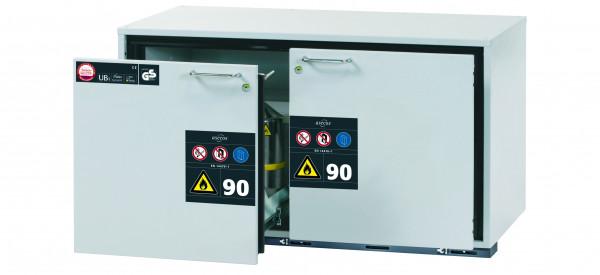 Typ 90 Sicherheitsunterbauschrank UB-S-90 Modell UB90.060.110.2S in lichtgrau RAL 7035 mit 2x Schubladenwanne STAWA-R (Edelstahl 1.4301)