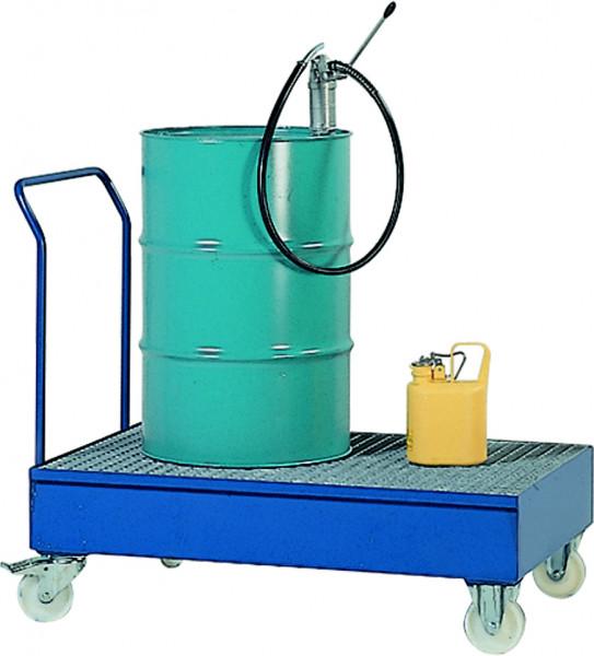 Auffangwanne fahrbar Stahl mit verzinktem Gitterrost 1700x815x995, Stahl pulverbeschichtet glatt
