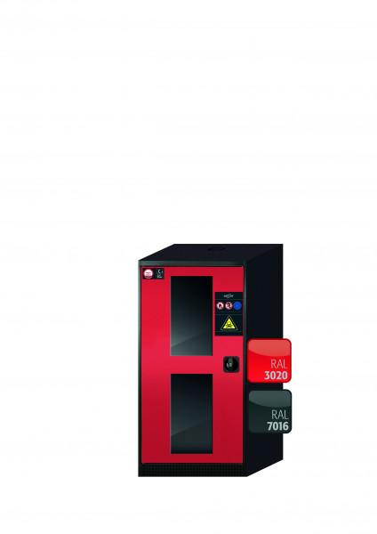 Chemikalienschrank CS-CLASSIC-G Modell CS.110.054.WDFW in verkehrsrot RAL 3020 mit 2x Tablarauszug AbZ (Stahlblech/Polypropylen)