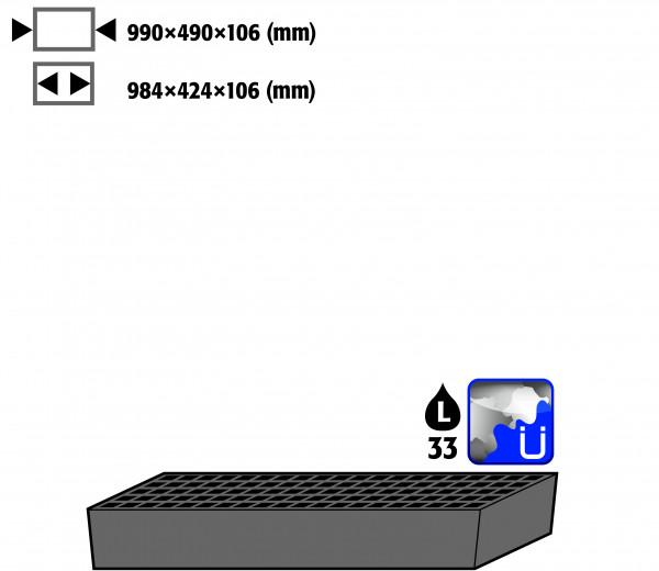 Bodenauffangwanne STAWA-R mit Gitterrost (Volumen: 33,00 Liter) für Modell(e): CS mit Breite 1055 mm, Stahlblech verzinkt und lackiert