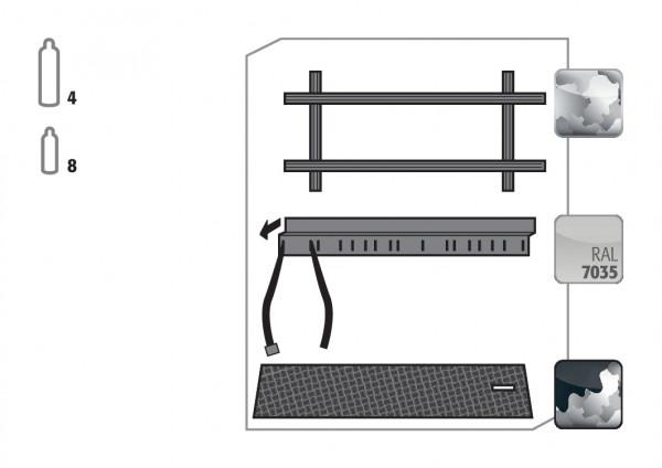 Standardinneneinrichtung Druckgasflaschen für Modell(e): G90 mit Breite 1400 mm, Stahlblech verzinkt und pulverbeschichtet