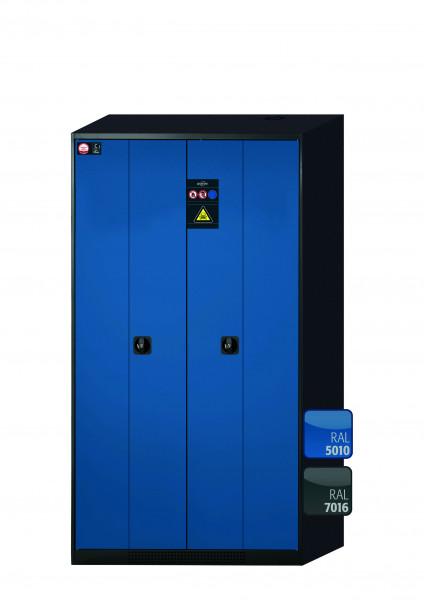 Chemikalienschrank CS-PHOENIX Modell CS.195.105.FD in enzianblau RAL 5010 mit 6x Tablarauszug AbZ (Stahlblech/Polypropylen)