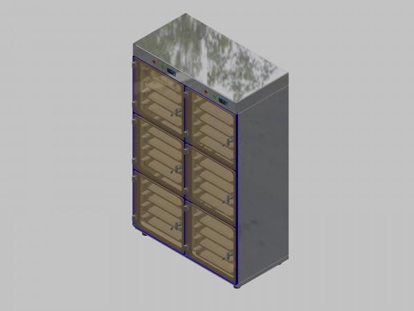 Trockenlagerschrank-ITN-1200-6 mit 4 Schubladen und Regelung der Schrankatmosphäre pro Vertikalkompartiment und Sockelausführung mit Stellfüssen
