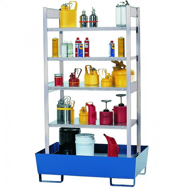Gefahrstoffregal 4 Fachböden+Auffangwanne lackiert 1060x640x2000, Stahl verzinkt und lackiert