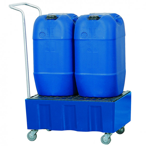 Auffangwanne fahrbar PE-LD mit PE-Gitterrost 725x525x330, Polyethylen (low density)
