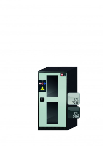 Chemikalienschrank CS-CLASSIC-G Modell CS.110.054.WDFWR in lichtgrau RAL 7035 mit 2x Tablarauszug AbZ (Stahlblech/Polypropylen)