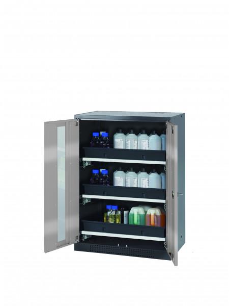 Chemikalienschrank CS-CLASSIC-G Modell CS.110.081.WDFW in asecos Silber mit 3x Tablarauszug AbZ (Stahlblech/Polypropylen)