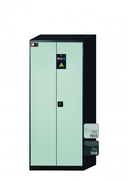 Chemikalienschrank CS-CLASSIC Modell CS.195.081 in lichtgrau RAL 7035 mit 5x Tablarauszug AbZ (Stahlblech/Polypropylen)