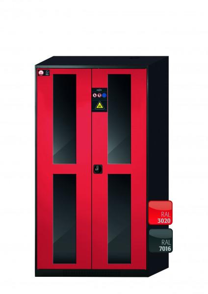 Chemikalienschrank CS-CLASSIC-G Modell CS.195.105.WDFW in verkehrsrot RAL 3020 mit 4x Tablarauszug AbZ (Stahlblech/Polypropylen)