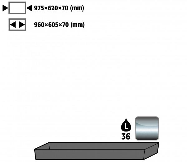 Bodenauffangwanne STAWA-R (Volumen: 33,00 Liter) für Modell(e): UB90 mit Breite 1100 mm, Edelstahl 1.4301 roh
