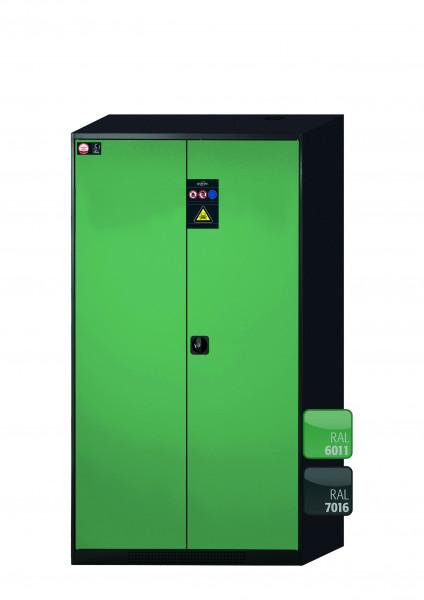 Chemikalienschrank CS-CLASSIC Modell CS.195.105 in resedagrün RAL 6011 mit 6x Tablarauszug AbZ (Stahlblech/Polypropylen)