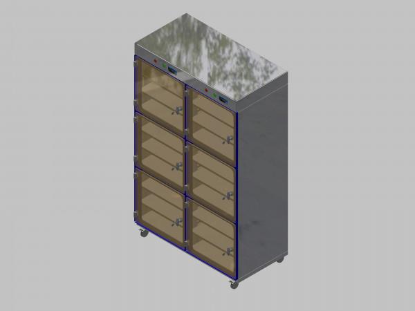 Trockenlagerschrank-ITN-1200-6 mit 3 Tablaren und Regelung der Schrankatmosphäre pro Vertikalkompartiment und Sockelausführung mit Rollen