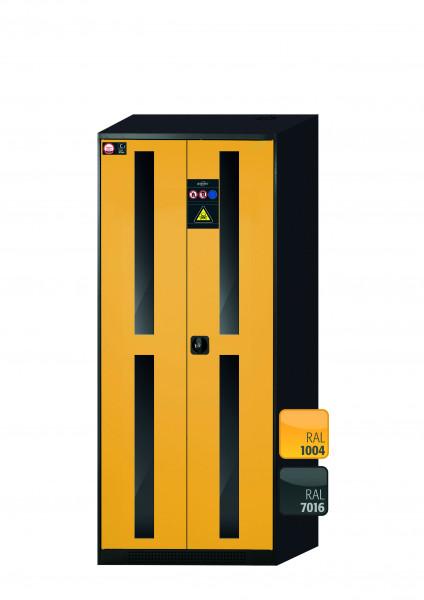 Chemikalienschrank CS-CLASSIC-G Modell CS.195.081.WDFW in sicherheitsgelb RAL 1004 mit 5x Tablarauszug AbZ (Stahlblech/Polypropylen)