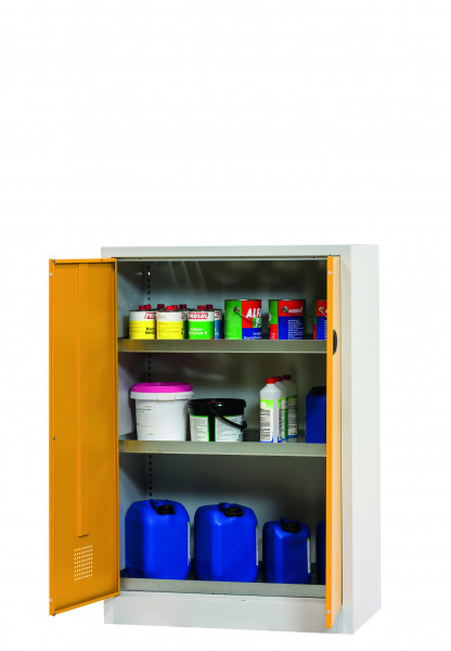 Chemikalienschrank CF-CLASSIC Modell CF.140.095:0005 in sicherheitsgelb RAL 1004 mit 3x Wannenboden Standard (Stahlblech), Stahlblech pulverbeschichtet glatt