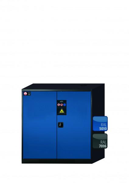 Chemikalienschrank CS-CLASSIC Modell CS.110.105 in enzianblau RAL 5010 mit 3x Tablarauszug AbZ (Stahlblech/Polypropylen)