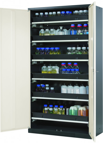 Chemikalienschrank CS-CLASSIC Modell CS.195.105 in reinweiss RAL 9010 mit 6x Tablarauszug AbZ (Stahlblech/Polypropylen)
