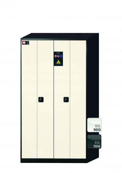 Chemikalienschrank CS-PHOENIX Modell CS.195.105.FD in reinweiss RAL 9010 mit 6x Tablarauszug AbZ (Stahlblech/Polypropylen)