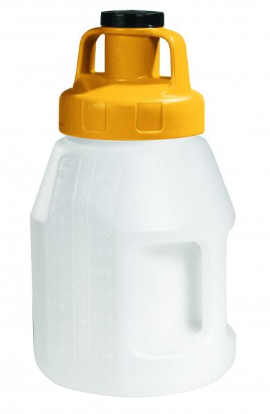 Öl-Kanne aus HDPE 5 Liter mit gelbem Allzweckdeckel, Polyethylen (high density)