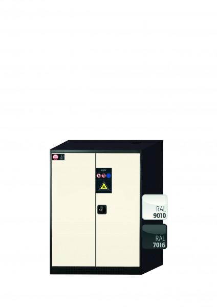 Chemikalienschrank CS-CLASSIC Modell CS.110.081 in reinweiss RAL 9010 mit 2x Tablarauszug AbZ (Stahlblech/Polypropylen)