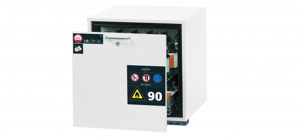 Typ 90 Sicherheitsunterbauschrank UB-S-90 Modell UB90.060.059.S in laborweiss (ähnl. RAL 9016) mit 1x Schubladenwanne STAWA-R (Edelstahl 1.4301)