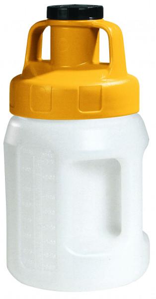 Öl-Kanne aus HDPE 2 Liter mit gelbem Allzweckdeckel, Polyethylen (high density)