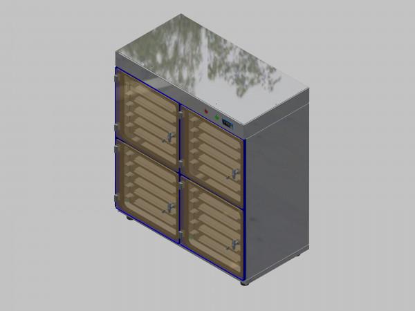 Trockenlagerschrank-ITN-1200-4 mit 6 Schubladen und Regelung der Schrankatmosphäre pro Schrank und Sockelausführung mit Stellfüssen