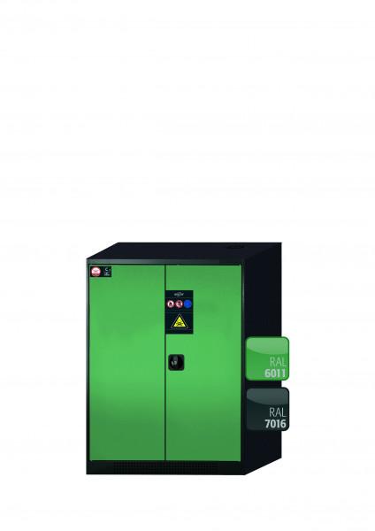 Chemikalienschrank CS-CLASSIC Modell CS.110.081 in resedagrün RAL 6011 mit 2x Tablarauszug AbZ (Stahlblech/Polypropylen)
