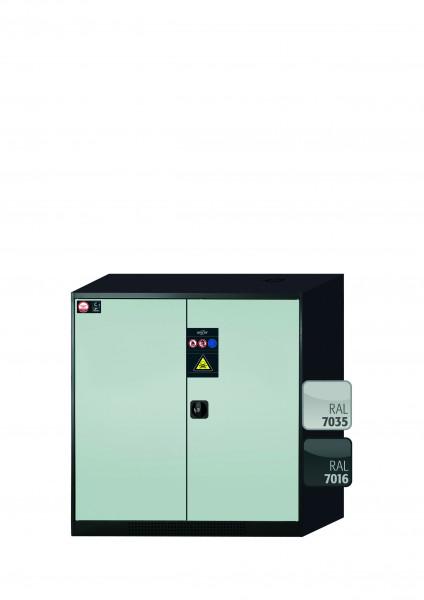 Chemikalienschrank CS-CLASSIC Modell CS.110.105 in lichtgrau RAL 7035 mit 2x Tablarauszug AbZ (Stahlblech/Polypropylen)