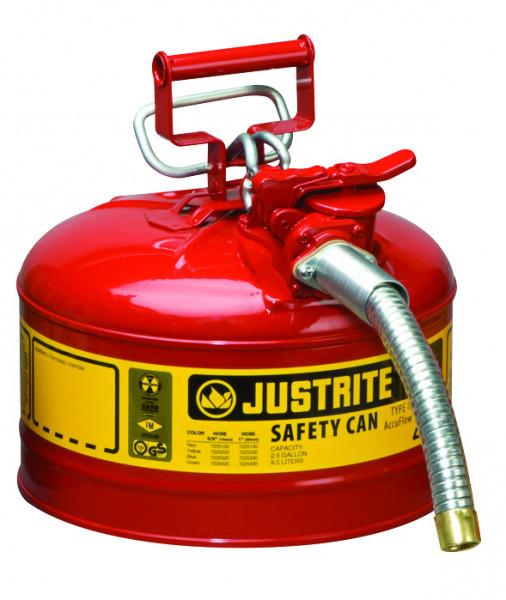 Sicherheitsbehälter Stahl pulverbeschichtet Rot, Inhalt: 4 Liter, Schlauch, Stahlblech pulverbeschichtet glatt