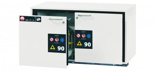 Typ 90 Sicherheitsunterbauschrank UB-S-90 Modell UB90.060.110.2S in laborweiss (ähnl. RAL 9016) mit 2x Schubladenwanne STAWA-R (Stahlblech)