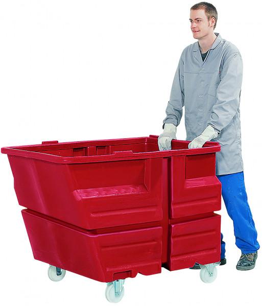 Mehrzweckbehälter PE Rot mit Rollen, 800 L, 1340x900x1030, Polyethylen