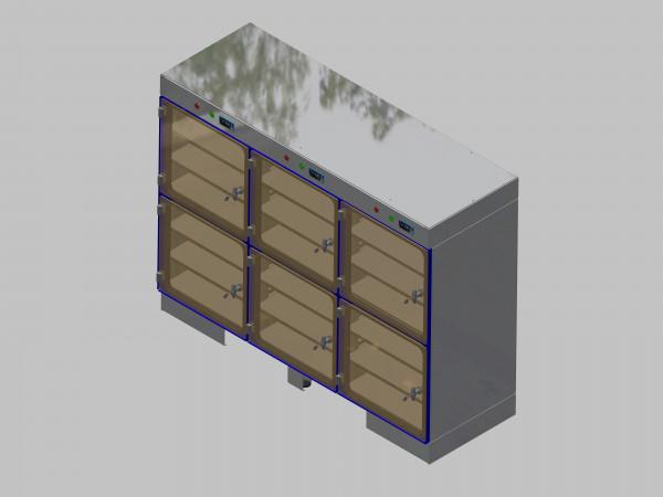 Trockenlagerschrank-ITN-1800-6 mit 3 Tablaren und Regelung der Schrankatmosphäre pro Vertikalkompartiment und Sockelausführung unterfahrbar mit Stellfüssen
